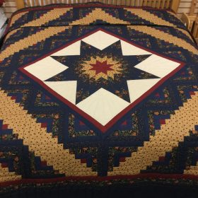 Log Cabin Lone Star Quilt - King - Family Farm Handcrafts