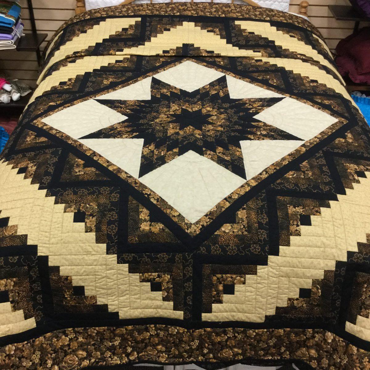 Log Cabin Lone Star Quilt Handmade by Amish | Family Farm Handcrafts : lone star log cabin quilt pattern - Adamdwight.com