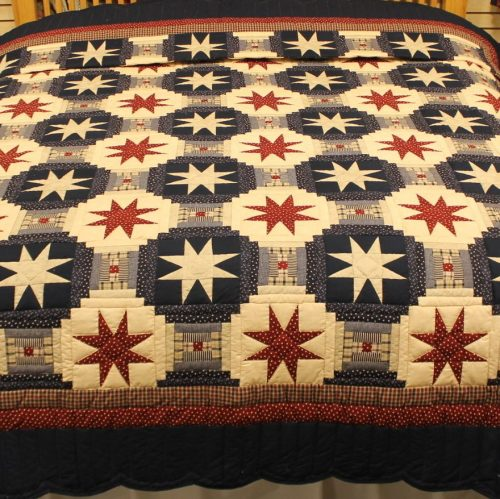 king sized quilts - Eight-point star Americana - King