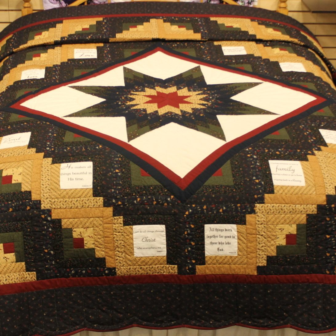 Lone Star Quilt Pattern Queen Size : Scripture Quilt Log Cabin Lone Star Quilt with Scripture Quotes Family Farm Quilts