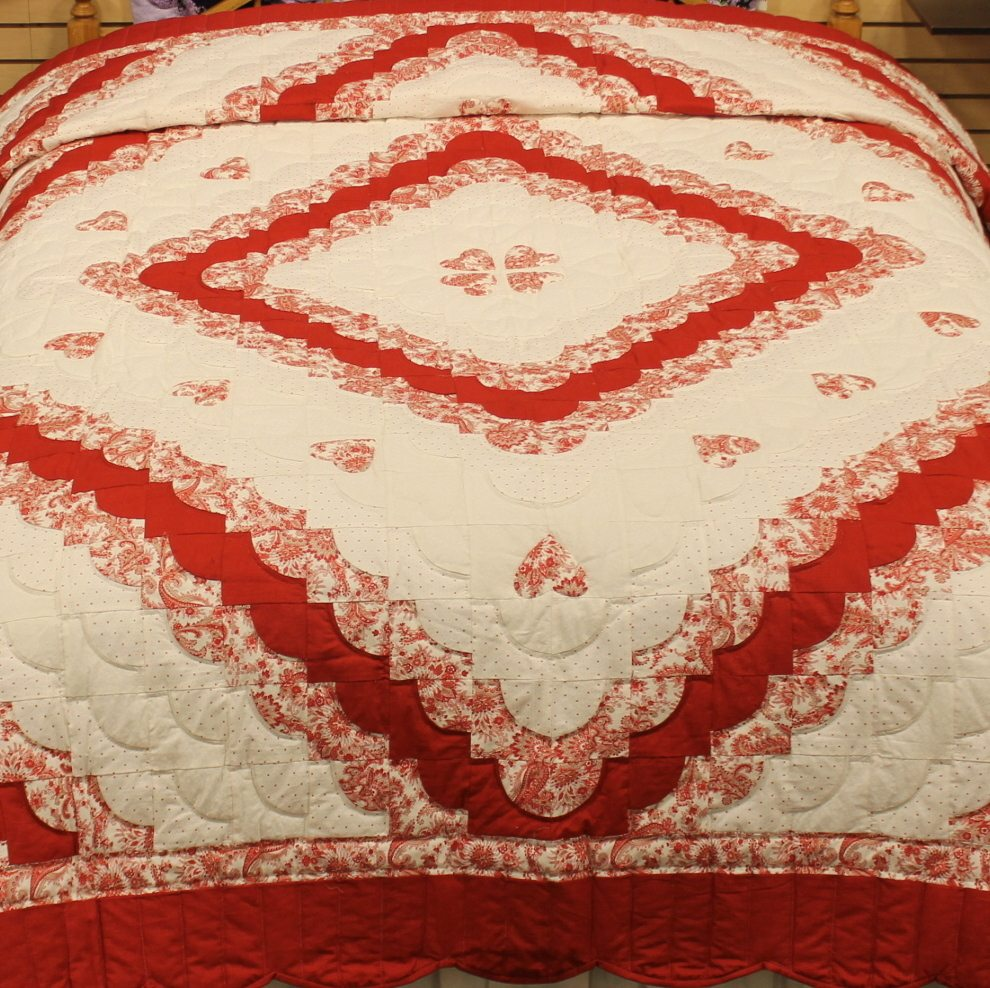 Queen size quilts hearts all around quilt