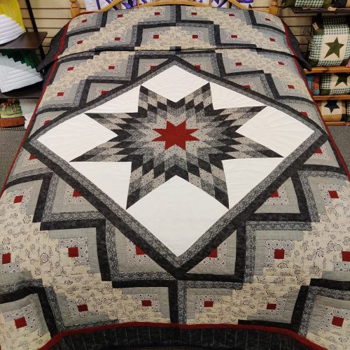 Log Cabin Lone Star Quilt - Twin - Family Farm Handcrafts