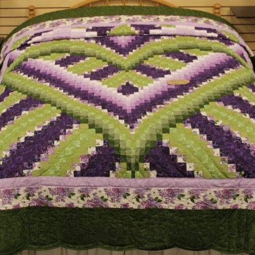 Sale Quilt- Purple and Green Love Within Queen Quilt - Family Farm Quilts of Shady Maple