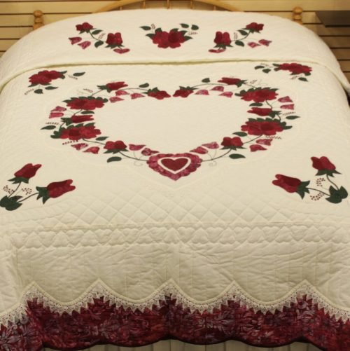 Heart Quilt - Lacy Heart of Roses - Family Farm Quilts of Shady Maple
