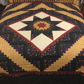 Log Cabin Lone Star Quilt-King-Family Farm Handcrafts