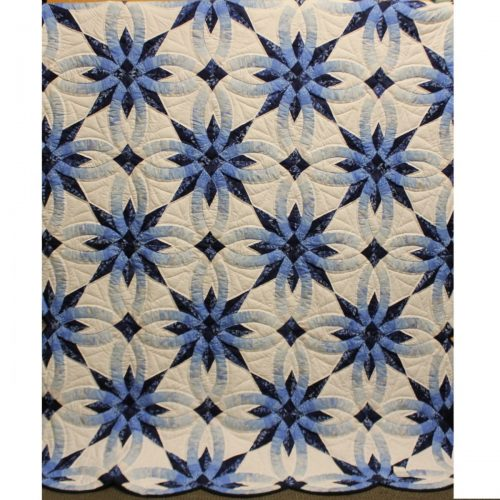 Star Wedding Ring Throw - Blue Throw Quilt for Sale -Family Farm Quilts of Shady Maple