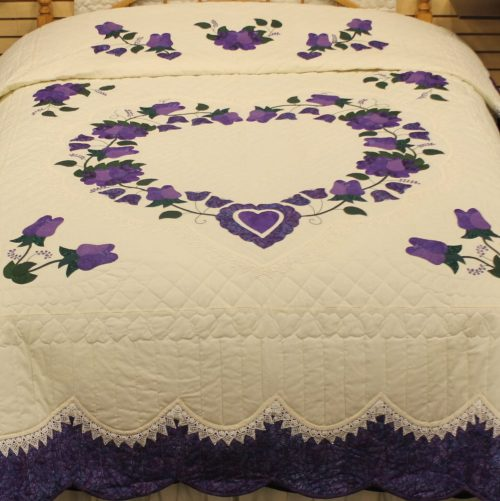 Bed quilt - Lacy Heart of Roses - queen quilt - Family Farm Quilts of Shady Maple