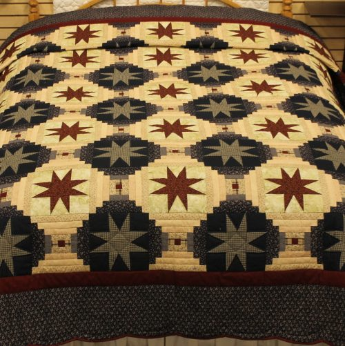 Americano Amish Quilt - Eight-point Star Queen Quilt - Family Farm Quilts of Shady Maple