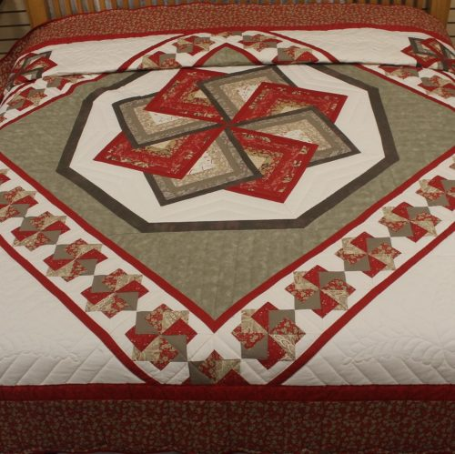 Quilted Bedspread | Spin Star in French General Fabrics