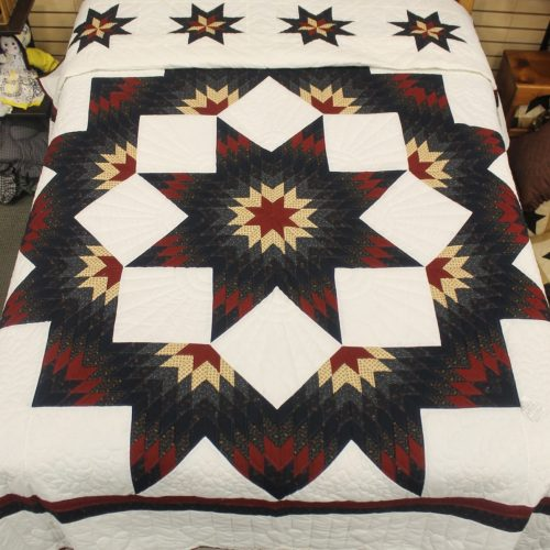 Patriotic quilts - Red and blue Broken Star Queen Quilt
