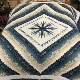 Mariner's Postage Stamp Quilt-King-Family Farm Handcrafts