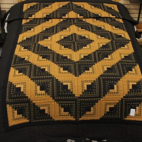 Twin Quilts for Sale - Log Cabin Homespun Twin Quilt - Family Farm Quilts