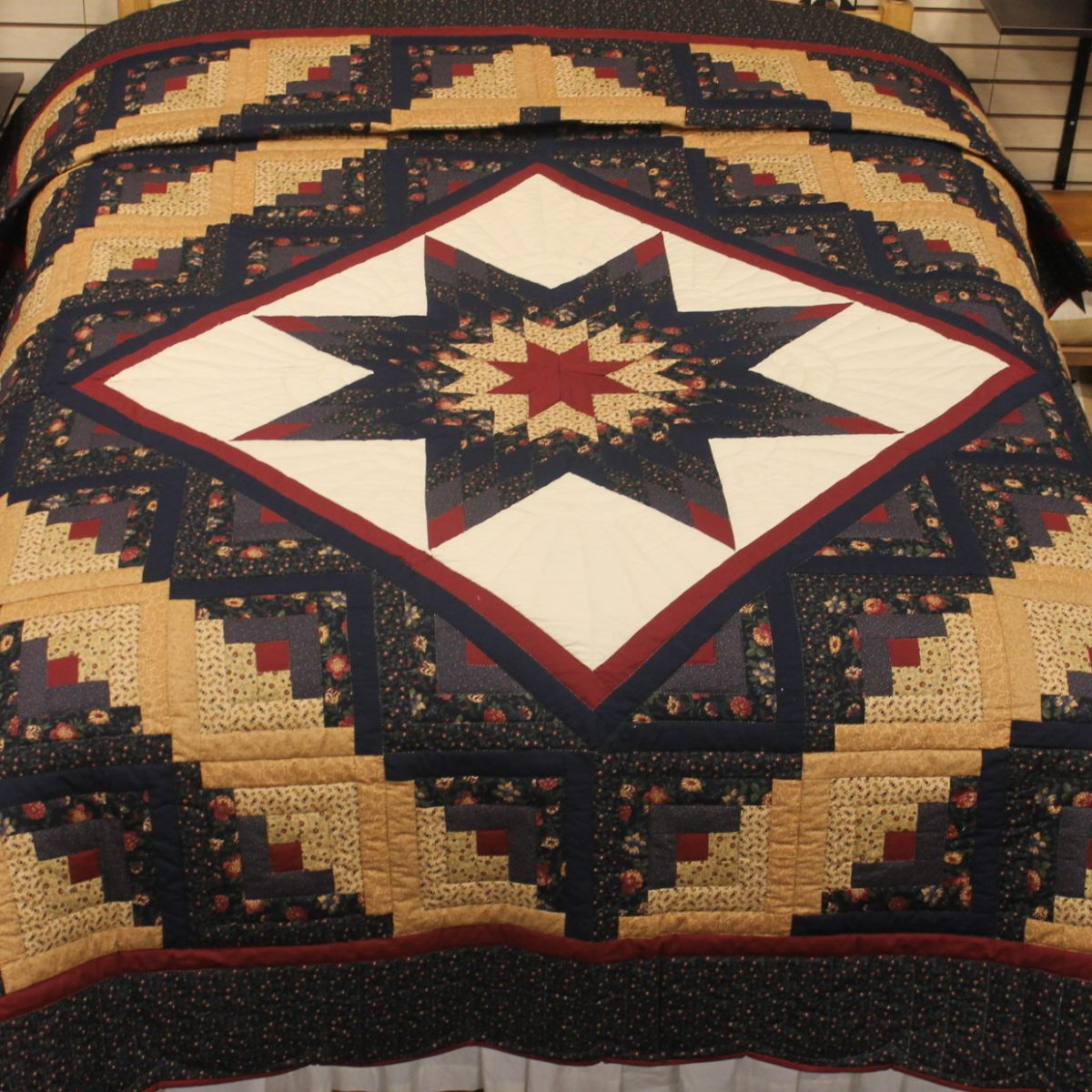 Lone Star Quilt Pattern Queen Size : Log Cabin Lone Star Quilt- queen - Family Farm Quilts of Shady Maple