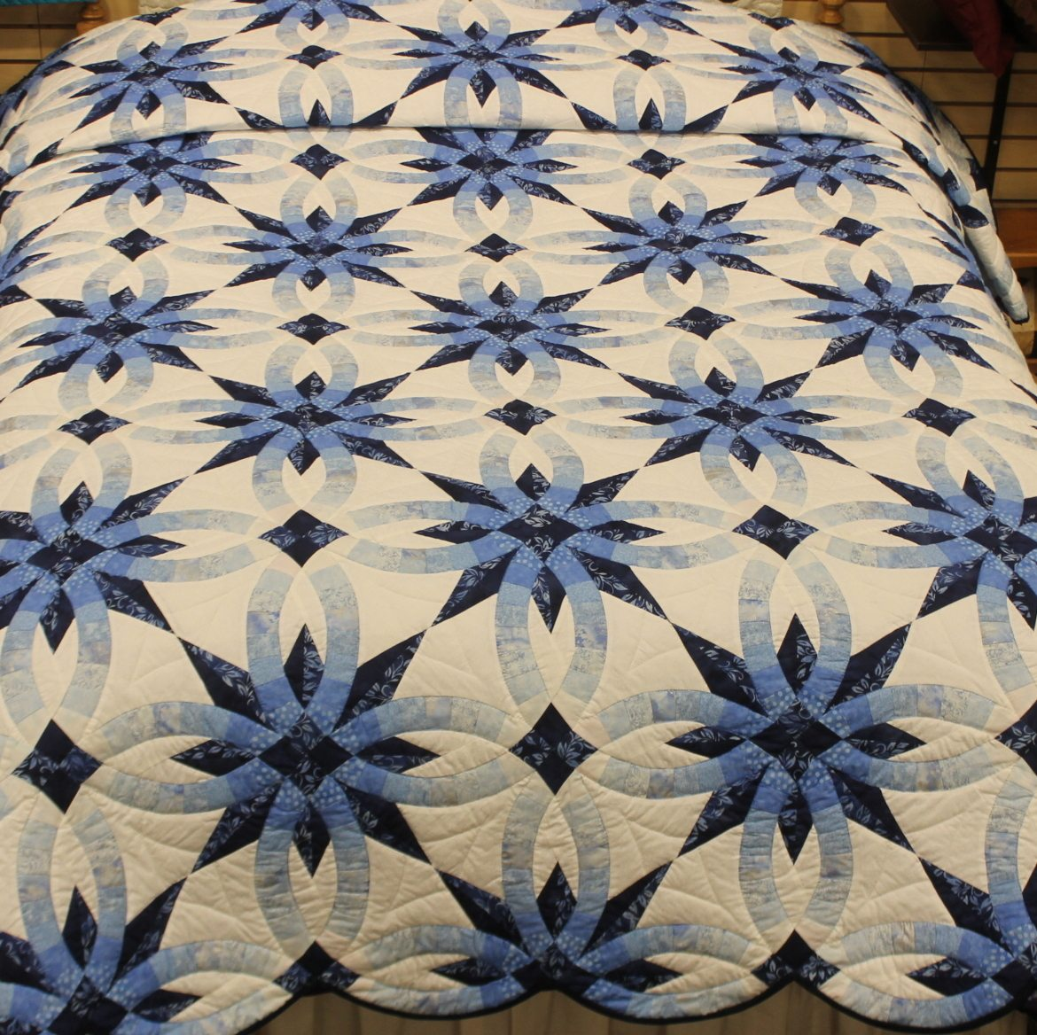 star wedding ring quilt queen 2 wedding ring quilt pattern Star Wedding Ring Quilt Pattern Queen teal and purple quilt Family Farm Quilts