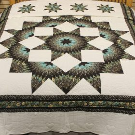 Amish Star Quilt - Broken Star Quilt - Brown and Teal Quilt - Family Farm Quilts