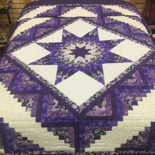 Log Cabin Lone Star Quilt-Queen-Family Farm Handcrafts