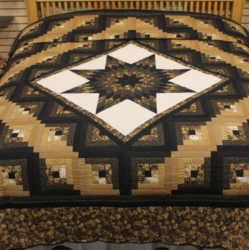 handmade Amish quilt - Log Cabin Lone Star king Quilt - Family Farm Quilts