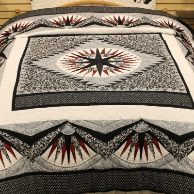 classic red mariner's compass quilt