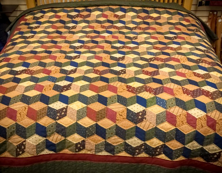 handmade tumbling blocks quilt pattern