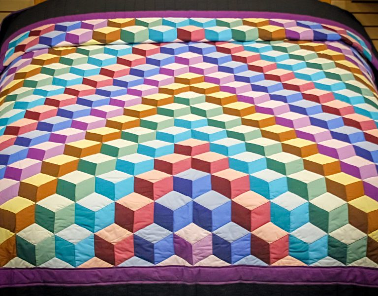 playful tumbling blocks quilt pattern by amish in lancaster county 2 1